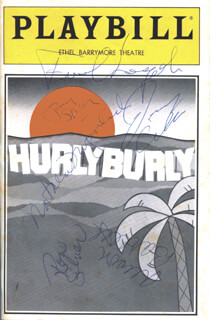 HURLYBURLY BROADWAY CAST - SHOW BILL SIGNED CIRCA 1985 CO-SIGNED BY: DANNY AIELLO, JERRY STILLER, FRANK LANGELLA, RON SILVER, NATALIJA NOGULICH, ALISON BARTLETT