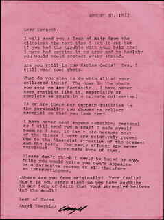 ANGEL TOMPKINS - TYPED LETTER SIGNED 08/10/1972