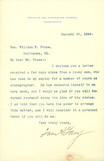 Autographs: JAMES A. GARY - TYPED LETTER SIGNED 01/29/1898