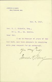 Autographs: JAMES A. GARY - TYPED LETTER SIGNED 12/04/1912
