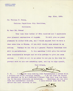 JAMES A. GARY - TYPED LETTER SIGNED 08/21/1896