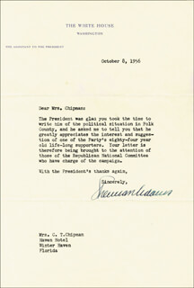 Autographs: SHERMAN THE ICEBERG ADAMS - TYPED LETTER SIGNED 10/08/1956