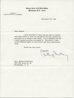 ASSOCIATE JUSTICE ARTHUR J. GOLDBERG - TYPED LETTER SIGNED 12/29/1964