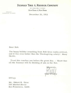 GENE TUNNEY - TYPED LETTER SIGNED 12/26/1953