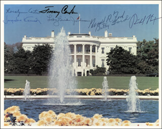 PRESIDENT RICHARD M. NIXON - AUTOGRAPHED SIGNED PHOTOGRAPH CO-SIGNED BY: PRESIDENT JAMES E. JIMMY CARTER, FIRST LADY BETTY FORD, FIRST LADY LADY BIRD JOHNSON, FIRST LADY JACQUELINE B. KENNEDY, FIRST LADY ROSALYNN CARTER, PRESIDENT GERALD R. FORD