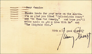 JAMES JIMMY STEWART - TYPED LETTER SIGNED CIRCA 1941