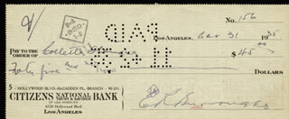 EDGAR RICE BURROUGHS - AUTOGRAPHED SIGNED CHECK 10/31/1935