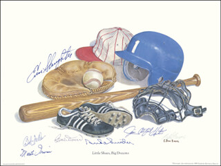 HALL OF FAME BASEBALL - PRINTED ART SIGNED IN INK CIRCA 1985 CO-SIGNED BY: BOB FELLER, ENOS SLAUGHTER, BOBBY DOERR, JIM CATFISH HUNTER, MONTE IRVIN, DUKE SNIDER, C. DON ENSOR