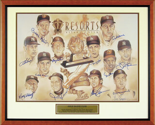 GOLD GLOVE WINNERS - PRINTED ART SIGNED IN INK CIRCA 2001 CO-SIGNED BY: MAURY WILLS, CLETE BOYER, JOE PEPI PEPITONE, JIMMY PIERSALL, TOM TRESH, BROOKS ROBINSON, BOBBY SHANTZ, PAUL BLAIR, GARY CARTER, AL MR. TIGER KALINE, DAVEY JOHNSON, BILL MASEROSKI, GARY LONZORDO