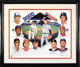 3,000 STRIKEOUTS - PRINTED ART SIGNED IN INK CO-SIGNED BY: GAYLORD PERRY, DON SUTTON, STEVE CARLTON, PHIL KNUCKSIE NIEKRO, BOB GIBSON, ROGER CLEMENS, BERT BLYLEVEN, FERGUSON JENKINS, NOLAN RYAN, TOM TOM TERRIFIC SEAVER, DOO S. OH