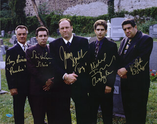 THE SOPRANOS TV CAST - AUTOGRAPHED SIGNED PHOTOGRAPH CO-SIGNED BY: JAMES GANDOLFINI, MICHAEL IMPERIOLI, STEVEN VAN ZANDT, TONY SIRICO, VINCENT PASTORE