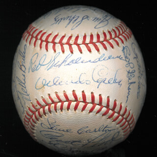 THE ST. LOUIS CARDINALS - AUTOGRAPHED SIGNED BASEBALL CIRCA 1968 CO-SIGNED BY: DICK DUCKY SCHOFIELD SR., CURT FLOOD, STEVE CARLTON, ORLANDO THE BABY BULL CEPEDA, BOB GIBSON, RON DAVIS, WAYNE GRANGER, MEL NELSON, PHIL GAGLIANO, DICK HUGHES, MIKE MOONMAN SHANNON, RAY WASHBURN, LOU BROCK, JOE HOERNER, BILLY MUFFETT, ROGER MARIS, TIM McCARVER, ED SPIEZIO, RED SCHOENDIENST, NELSON NELLIE BRILES, JOHN EDWARDS, JOE SCHULTZ