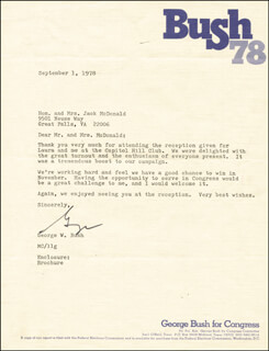 PRESIDENT GEORGE W. BUSH - TYPED LETTER SIGNED 09/01/1978