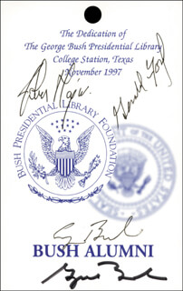 PRESIDENT GEORGE W. BUSH - PASS SIGNED CIRCA 1997 CO-SIGNED BY: PRIME MINISTER JOHN MAJOR (GREAT BRITAIN), PRESIDENT GEORGE H.W. BUSH, PRESIDENT GERALD R. FORD