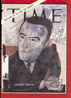 Autographs: SARGENT SHRIVER - INSCRIBED MAGAZINE COVER SIGNED 1966