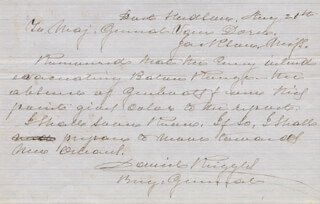 BRIGADIER GENERAL DANIEL RUGGLES - AUTOGRAPH LETTER SIGNED 08/21/1862