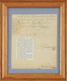 JOHN GEORGE III - DOCUMENT SIGNED