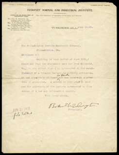 BOOKER T. WASHINGTON - TYPED LETTER SIGNED 06/18/1903