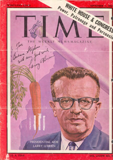 LAWRENCE LARRY O'BRIEN - INSCRIBED MAGAZINE COVER SIGNED 1961