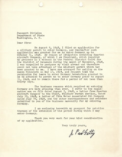 J. PAUL GETTY - TYPED LETTER SIGNED