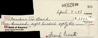 FRANK CROSETTI - AUTOGRAPHED SIGNED CHECK 04/07/1987