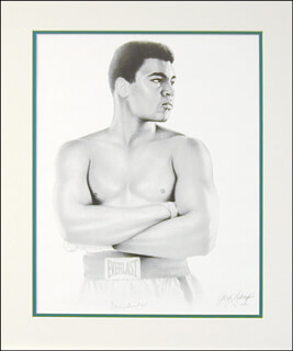 Autographs: MUHAMMAD THE GREATEST ALI - PRINTED ART SIGNED IN INK CIRCA 1992 CO-SIGNED BY: GARY SADERUP