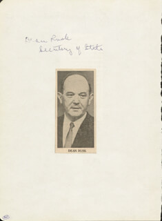 DEAN RUSK - AUTOGRAPH CO-SIGNED BY: JOHN M. JACK CAMPBELL