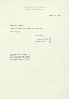 Autographs: W. WILLARD WIRTZ - TYPED LETTER SIGNED 08/03/1970