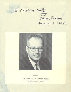W. Willard Wirtz Autographs 26651