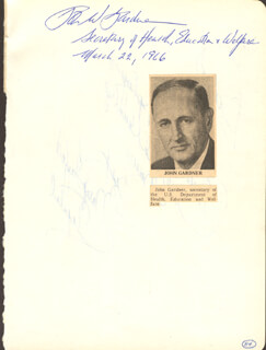 Autographs: JOHN W. GARDNER - SIGNATURE(S) 03/22/1966 CO-SIGNED BY: MARY TAYLOR