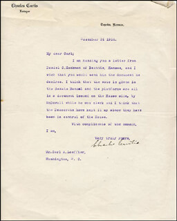 VICE PRESIDENT CHARLES CURTIS - TYPED LETTER SIGNED 12/24/1914