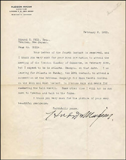 HUDSON MAXIM - TYPED LETTER SIGNED 02/06/1923