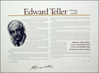 EDWARD TELLER - BROADSIDE SIGNED CIRCA 1996