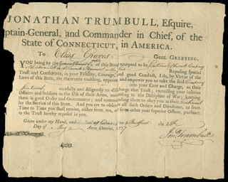 Autographs: JONATHAN TRUMBULL SR. - MILITARY APPOINTMENT SIGNED 05/24/1777