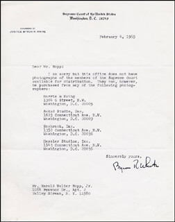 Autographs: ASSOCIATE JUSTICE BYRON R. WHITE - TYPED LETTER SIGNED 02/04/1969