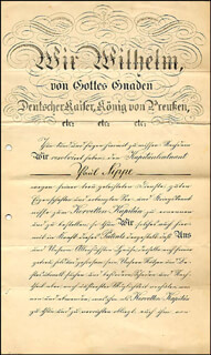 Autographs: KAISER WILHELM II (GERMANY) - MILITARY APPOINTMENT SIGNED 03/27/1909