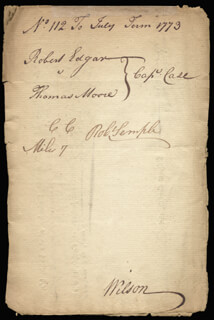 ASSOCIATE JUSTICE JAMES WILSON - DOCUMENT SIGNED 7/1773