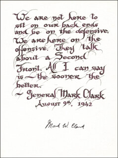 GENERAL MARK W. CLARK - QUOTATION SIGNED CIRCA 1942