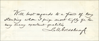 Autographs: REAR ADMIRAL LOUIS M. GOLDSBOROUGH - AUTOGRAPH NOTE SIGNED