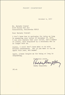 PADDY CHAYEFSKY - TYPED LETTER SIGNED 10/06/1977