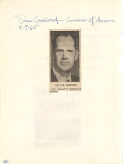 Autographs: GEORGE W. ROMNEY - SIGNATURE(S) 09/09/1965 CO-SIGNED BY: GOVERNOR SAMUEL GODDARD