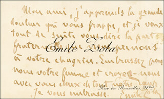 Autographs: EMILE ZOLA - AUTOGRAPH NOTE ON CALLING CARD SIGNED