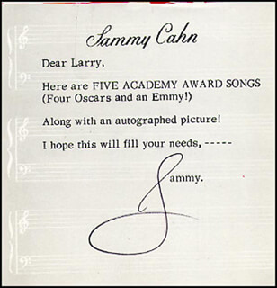 SAMMY CAHN - TYPED NOTE SIGNED