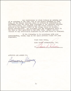 Autographs: ROSEMARY CLOONEY - CONTRACT SIGNED CIRCA 1952 CO-SIGNED BY: BASIL F. GRILLO