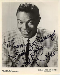 NAT KING COLE - AUTOGRAPHED INSCRIBED PHOTOGRAPH