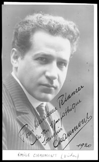 EMILE CHAUMONT - AUTOGRAPHED INSCRIBED PHOTOGRAPH 1920