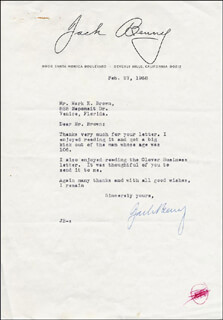JACK BENNY - TYPED LETTER SIGNED 02/27/1968