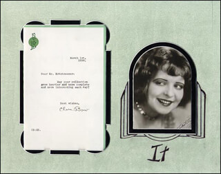Autographs: CLARA BOW - TYPED LETTER SIGNED 03/01/1930