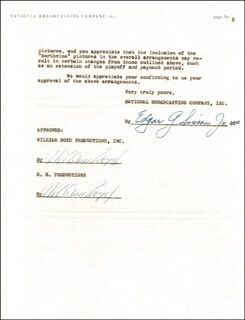 Autographs: WILLIAM HOPPY BOYD - CONTRACT DOUBLE SIGNED 03/02/1955