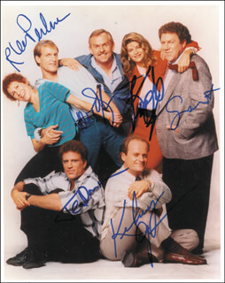 CHEERS TV CAST - AUTOGRAPHED SIGNED PHOTOGRAPH CO-SIGNED BY: TED DANSON, WOODY HARRELSON, RHEA PERLMAN, KELSEY GRAMMER, KIRSTIE ALLEY, GEORGE WENDT